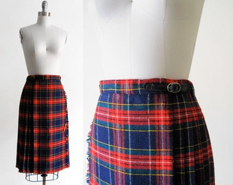 Vintage Pleated Plaid Kilt Skirt