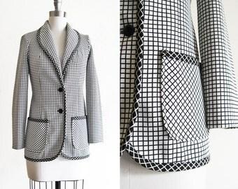 Vintage Grid Blazer  / 1970s Mod Ladies Graphic Black and White