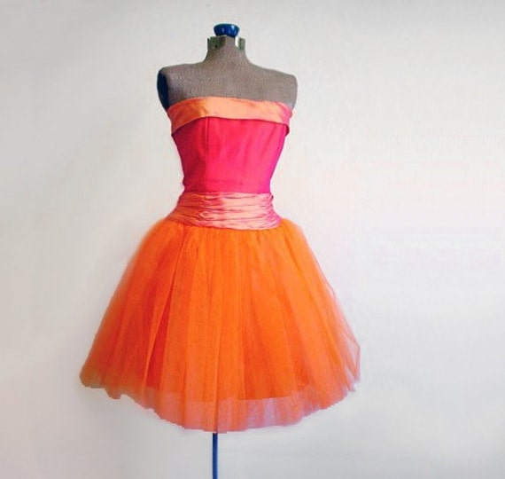 Vintage 1980 S Party Dress Lace Tulle Skirt Drop Waist: Vintage 1980s Prom Party Dress Sleeveless Orange And Pink
