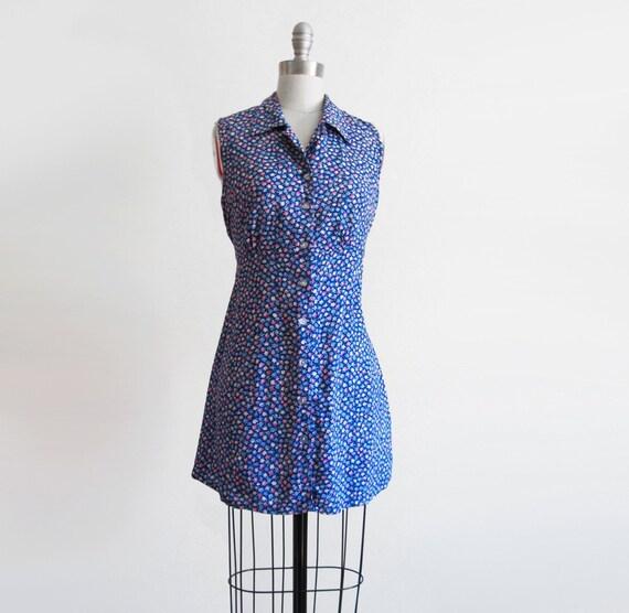 CLEARANCE Vintage Sleeveless Grunge Floral Mini Dress Tunic