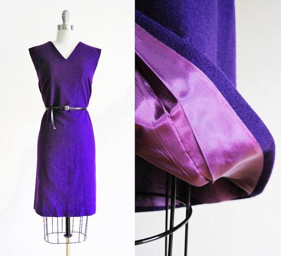 Vintage 1960s Sleeveless Purple Wool Dress