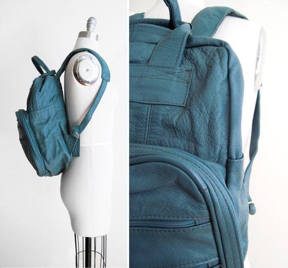 Vintage Blue Leather Backpack / Rucksack