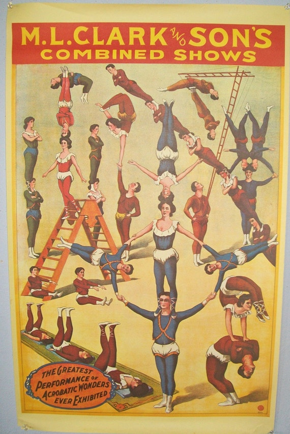Vintage Circus Acrobat Poster Reproduction