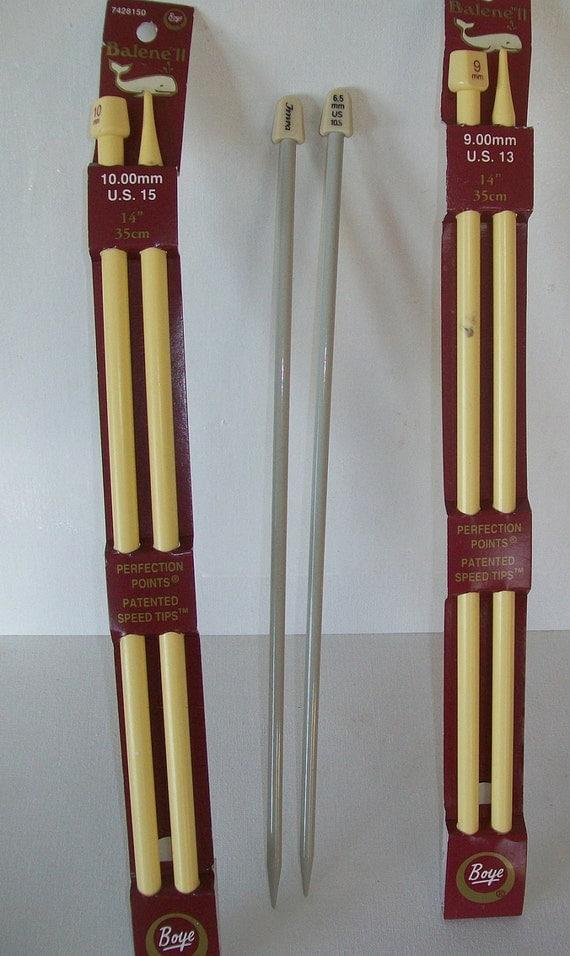 Three Pairs Knitting Needles - 14'' Boye - 10 1/2'' Imra