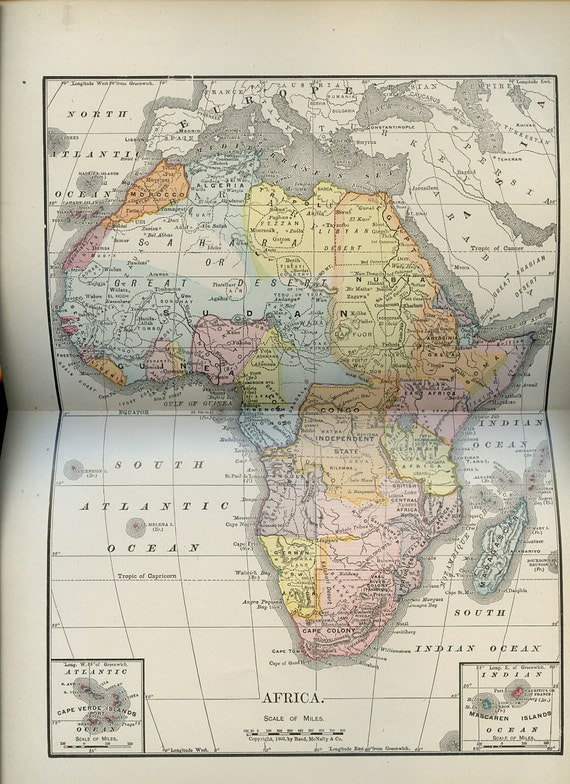 1907 Map Of Africa - Antique Lithograph - Upcycled - Rand McNally