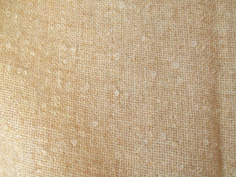Vintage Wool Boucle Fabric Beige Looped Texture Light