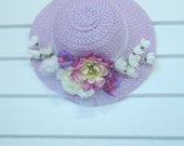 Straw Sun Hat, Baby Toddler Girl, Lavender, Purple, White Flowers