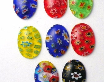 Millefiori Glass Cabochons 8 Cabs 18mm x 13mm Flowers Beautiful Colors and Patterns