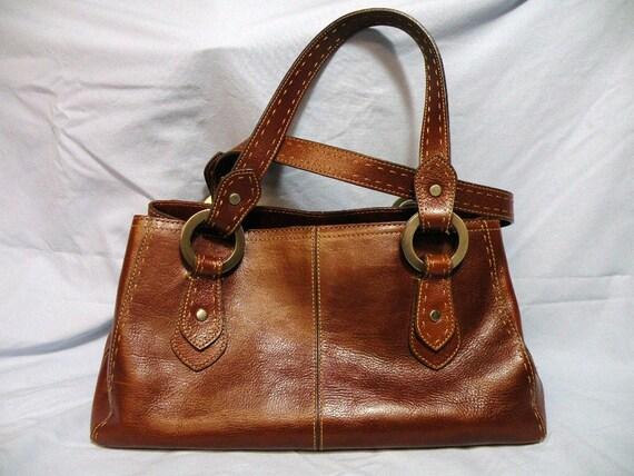Vintage Fossil Bag Purse Brown Leather Handbag Satchel Doctors Bag