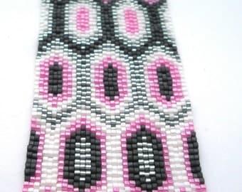 Pretty in Pink Peyote Stitch Cuff Bracelet
