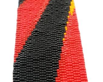 Red Rays Peyote Stitch Cuff Bracelet