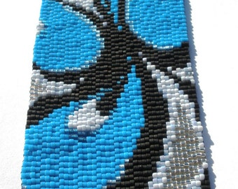 Blue Trip Peyote Stitch Cuff Bracelet
