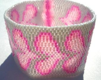 Bubblegum Hearts Peyote Stitch Cuff Bracelet EtsyFreeShipping