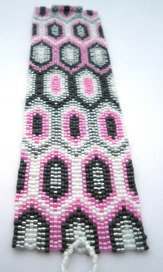 Pretty in Pink Peyote Stitch Cuff Bracelet