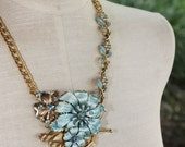 Blue Reverie Vintage Repurposed Recycled Necklace