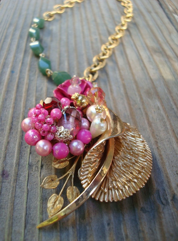 RESERVED FOR RACHEL Eden Floral Collage Necklace Recycled Repurposed Revamped