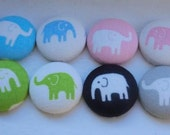 Marching Elephants fabric covered buttons - set of 8 flat back buttons