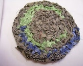 Rag rug miniature Blue Green and Light Brown with black dots