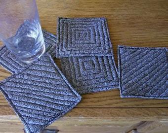 Coasters Fabric Black swirls on olive background SALE