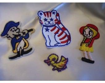 Appliques vintage Cat Soldier Girl Duck