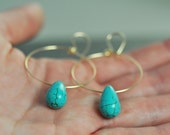 Turquoise and Gold Hoop Earrings, medium-Last Pair, Ready to Ship
