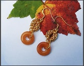 Red Aventurine Donuts Chainmaille Eqarrings