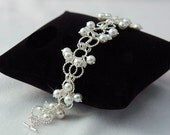 Chainmaille Bracelet with Swarovski Crystals and Glass Pearls