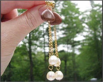 Lovely Earrings with Pearl and Goldstone