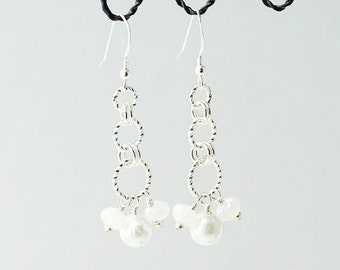 Chainmaille Earrings with Swarovski Crystals and Glass Pearls
