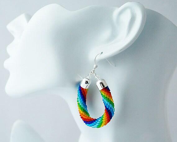 "Seed Beads Crocheted Earrings ""Rainbow"""