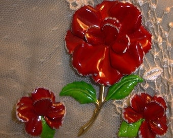 Large RED Enamel Flower (power) Pin & Earrings
