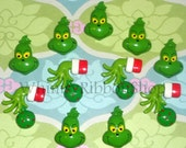 2 Dr Seuss inspired Grinch hands Resins for the Hair Bows ribbon bow centers Clips Clippies ornaments holiday