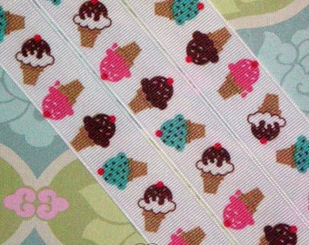 3 yards Birthday ICE CREAM 7/8 Ribbon on White GROSGRAIN Ribbon Hair Bows Scrap booking Crafts Favors