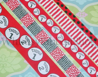 10 yards total 3/8 7/8 1.5 Seuss Inspired Red THING Olivia Candy stripes Grosgrain Ribbon sewing Hair Bows party Scrap booking 2 yds ea