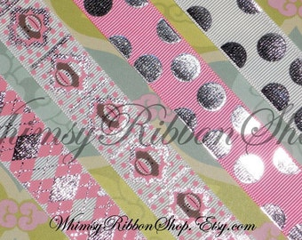 8 Yards 7/8 Pink Girly Silver Foil BLING Sock Monkey head face ARGYLE dots on White Grosgrain Ribbon Hair Bows Scrap booking 2 YD Ea