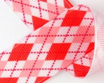 NEW 3 yards 7/8 VALENTINES love Red Pink ARGYLE on White Grosgrain Ribbon Hair Bows scrap booking sewing clips flowers diamonds stripes