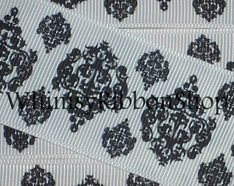 New 25 yards 1.5 BLACK Damask on WHITE Grosgrain Ribbon Hair bows Scrap booking Crafts sewing Chandelier