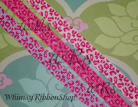 3 Yards 3/8 Girly pink Safari on Light Pink Lavender or Hot Pink Leopard Grosgrain Ribbon YOUR COLOR CHOICE Hair Bows Scrap booking Sewing