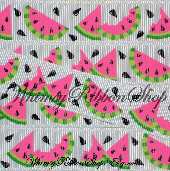 NEW 3 Yards 7/8 Black Watermelon Seeds fruit on white Grosgrain Ribbon for Hair bows sewing clips LIMITED Bugs