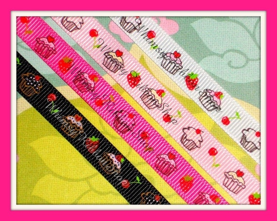 NEW 3 yards 3/8 Yummy SWEET Cupcakes strawberry treats on PINK Grosgrain Ribbon Hair Bows Scrap booking SewingStrawberries