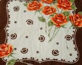 FREE SHIPPING//Art DECO Cotton Rose Vintage Handkerchief 1940's