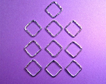 Handmade Supplies 10 medium square sterling silver hammer textured links 16gauge for diy jewelry, beading, stamping, crafting