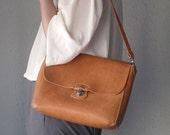Hand-stitched Camel Leather Shoulder Bag