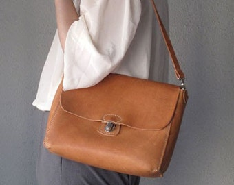 Hand-stitched Camel Leather Shoulder Bag