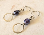Forged sterling silver violet pearl earrings on Etsy