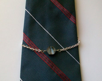 Midnight Blue Mother of Pearl Silver Wire Wrapped Tie Chain Tie Holder