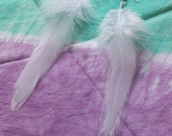 Summer White Feather Earrings - 7 Inches Long