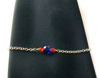 Blue and Orange Crystal Tie Chain Tie Retainer