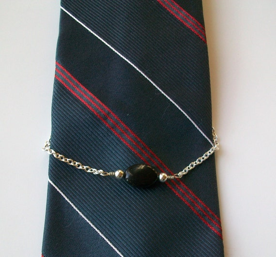 Black Obsidian Oval Silver Plated Wire Wrapped Tie Chain - Holder