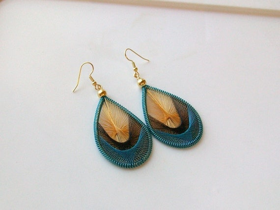 Turquoise Moon - Turquoise, Black and Gold Handwoven Thread Earrings